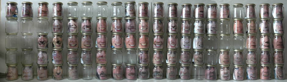 CONFINED FACES photos of people canned in glass jars